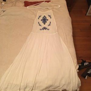 White Blue Summer Dress H&M Bohemian Floral